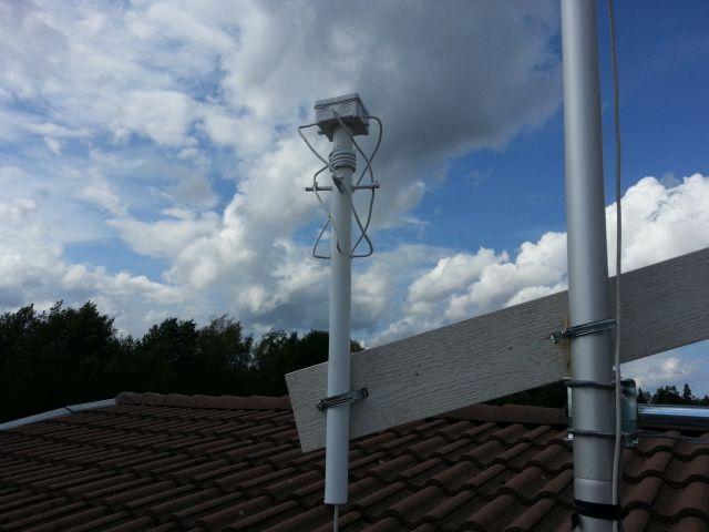 Testmontering av 70m QFH-antenn.